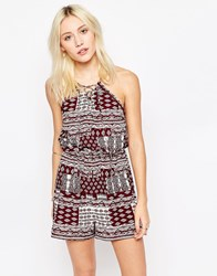 Influence Tie Front Printed Playsuit Burgandy Red