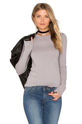 Enza Costa Bold Long Sleeve Crew Neck Top Grey