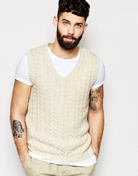 Asos Cable Knit Sleeveless Jumper Ecru