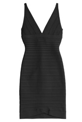 Herve Leger Herve Leger V Neck Bandage Dress Black