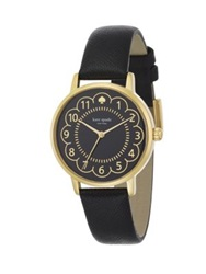 Kate Spade Metro Scalloped Enamel Goldtone Stainless Steel And Saffiano Leather Strap Watch Gold Black