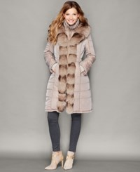 The Fur Vault Fox Fur Trim Quilted Puffer Coat Taupe