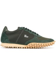 Off White Lace Up Sneakers Green
