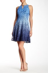 Maggy London Ombre Palm Lace Flare Dress Blue