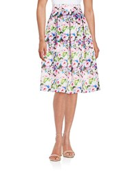 Helene Berman Pleated Full Floral Midi Skirt Blue Pink