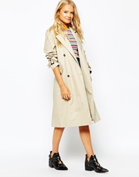 Monki Double Breasted Trench Coat Whitebeige