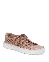 Delman Mela Perforated Leather Sneaker Sand
