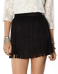 Bb Dakota Faux Suede Fringe Mini Skirt Black