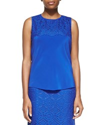Magaschoni Silk And Lace Tank Top Picasso Blue