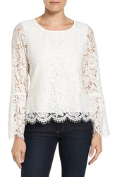 Vince Camuto Women's Lace Bell Sleeve Blouse New Ivory