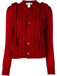 Comme Des Garcons Ruffled Cardigan Red