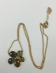 Jacquie Aiche 14K Yellow Gold 3 Diamond Green Tourmaline Flower Necklace