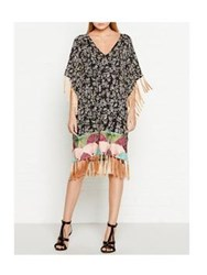 Maison Scotch Printed Fringed Kimono Dress Multicolour