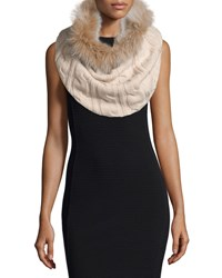 Sofia Cashmere Cashmere Fur Trim Cable Knit Snood Oatmeal