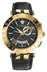 Versace 'V Race Gmt' Leather Strap Watch 46Mm Black Gold