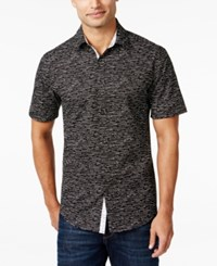 Alfani Men's Big And Tall Slim Contrast Trim Dash Print Short Sleeve Shirt Only At Macy's Deep Black