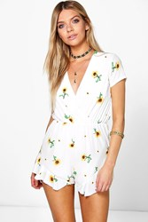 Boohoo Sunflower Ruffle Playsuit White