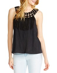 Jessica Simpson Tae Braided Neck Fringe Trim Tank Top Black
