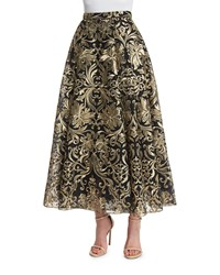 Marchesa Notte Embroidered Voluminous Midi Skirt Size 0 Black