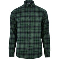Only And Sons River Island Mens Green Casual Check Shirt
