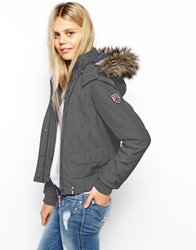 Tommy Hilfiger Hilfiger Denim Bomber Coat With Faux Fur Hood