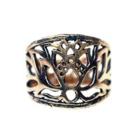 House Of Alaia Lotus Filigree Saddle Ring Antiqued Bronze With Clear Nano Coating