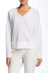 Eileen Fisher Linen V Neck Boxy Sweater White