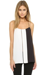 Vince Colorblock Ladder Stitch Cami Off White Black