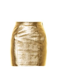 Saint Laurent High Rise Leather Mini Skirt Gold