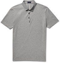 Lanvin Slim Fit Grosgrain Trimmed Cotton Pique Polo Shirt Gray