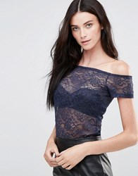 Y.A.S Sheer Off Shoulder Lace Top Navy Blzzer Blue