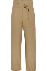 Isabel Marant Owel Cotton And Linen Blend Wide Leg Pants Nude