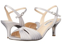 Nina Camille Silver Luster Satin Women's Sling Back Shoes