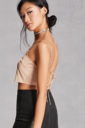 Forever 21 Satin Tie Back Crop Top