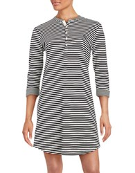 Lauren Ralph Lauren Three Quarter Sleeve Striped Nightgown Black