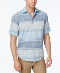 Tasso Elba Men's Plaid Short Sleeve Shirt Classic Fit Chalky Blue Combo