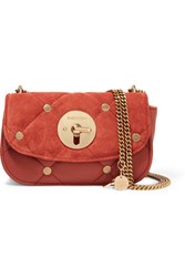 See By Chloe Lois Small Quilted Suede And Leather Shoulder Bag Orange