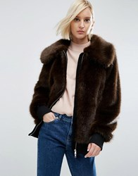 Asos White Faux Fur Bomber With Collar Brown
