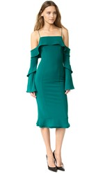 Nicholas Crepe Spiral Sleeve Off Shoulder Dress Lagoon