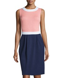 St. John Colorblock Sleeveless Knit Dress Nectar Bright White Ink