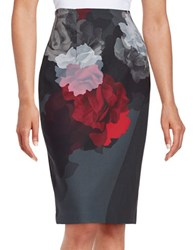 Ellen Tracy Floral Pencil Skirt Grey