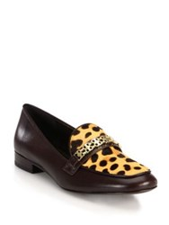 Tory Burch Gemini Link Leopard Print Calf Hair And Leather Loafers Coconut
