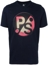 Paul Smith Ps By Logo Print T Shirt Blue