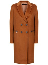 Jaeger Wool Double Breasted Zip Coat Conker