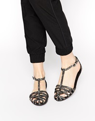New Look Luminate Glitter Flat Gladiator Shoes Pewter