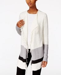 G.H. Bass And Co. Fringe Open Front Cardigan Ivory Combo