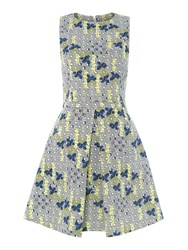 Sportmax Code Terzo Flower Print Fit And Flare Dress Yellow