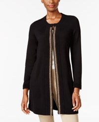 Jm Collection Chain Trim Cardigan Only At Macy's Deep Black