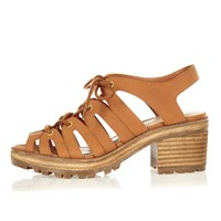 River Island Womens Brown Chunky Gladiator Mid Heel Sandals