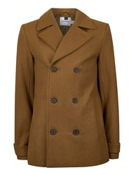 Topman Brown Tobacco Classic Short Double Breasted Peacoat